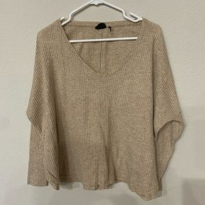 Urban Outfitters Tan Waffle Knit Long Sleeve